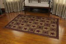 IHF Wine Star Rectangle Braided Area Rug Primitive Country Jute Black/Tan New