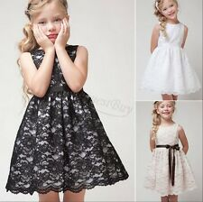 Girl Kid Princess Wedding Bridesmaid Party Pageant Christening Lace Flower Dress