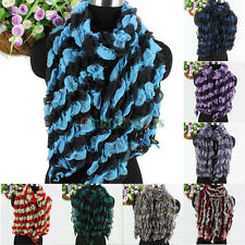 Fashion Women's Two Color Striped Mesh Soft Long Shawl Pleated Casual Scarf New