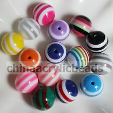50 * 20MM Round Striped Resin Spacer Beads Stripes Gumball Bubble Gum Beads