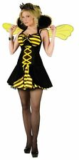 NEW ADULTS WOMENS SEXY QUEEN BUMBLE BEE STRIPPED DRESS COSTUME - 2 SIZES