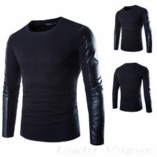 Men Fashion Casual Slim Fit Pullover PU Sweater Coat Turtleneck Knitwear Tops mb