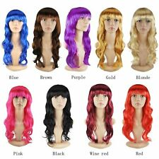 WOMENS LADIES LONG wavy CURLY WIG FANCY DRESS COSPLAY WIGS POP PARTY COSTUME