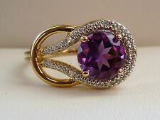 1.8ct Amethyst & Diamond Solitaire Knot Cocktail Ring 10K Yellow Gold- Size 8