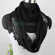 Women Fashion Cotton Gauze Floral Lace Long Shawl/Infinity Loop Cowl Lady Scarf