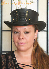 Steampunk Hat Victorian Classy Sexy Corset Gothic Leather SHORT Top Hat