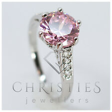10Kt White Gold Filled Stamped Pink Lab Sapphire Ladies Ring Size N O P Q