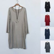 LAGENLOOK PLEATED FRONT DRESS LOOSE FIT PLUS SIZE 16 18 20 22 24 26 28 30   8766