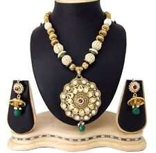 Jodha style kundan pearl CZ copper gold plated necklace earring set