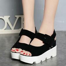 Women Cleated Sole Chunky Wedge Heel Ankle Strap Platform Sandals Peep Toe Shoes