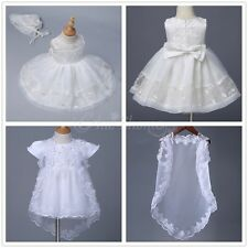 Embroidered Baptism Christening Gown Dress Cape Bonnet Wedding Ivory Baby Infant