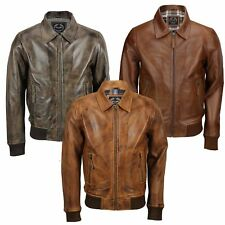 Mens Soft Real Leather Collar Bomber Jacket Vintage Biker Style Black, Tan Brown