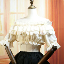 Women Chiffon Lolita Off Shoulder Bubble Short Sleeve Lace Blouse Shirt Tops