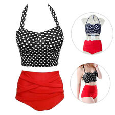Hot 1 Set Pin Up Women Polka Dot Sexy New Bikini Bra + Panty