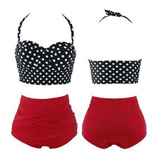 1 Set Sexy Bra + Panty New Bikini Hot Pin Up Polka Dot Women