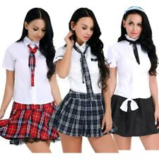 Women Girl School Girl Uniform Costume Fancy Dress Cosplay Shirt Plaid Skirt Tie