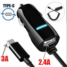 HIGH SPEED 3A Type C Coiled Spring Cable + 2.4A USB 1 Port Car Charger Adapter
