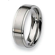 Size 3-18 Custom Made 8mm Mens Titanium Step Edge Wedding Band Ring