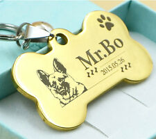 CUSTOM ENGRAVED DOG PET TAG DOUBLE SIDED PERSONALIZED ID DOG CAT CHARM TAGS