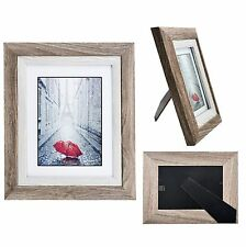 Distressed Wood Picture Frame Photo Mat GLASS Display Wall Hang Table Easel Back