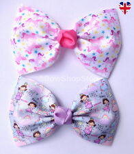 4.5 inch Pink Lilac Fairy Unicorn Hair Bow Elastic Bobbles Hair Clip Accessory
