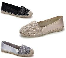 Ladies Flat Sequined Dolly Ballerina Ballet Pumps Womens Espadrille Shoes 3-8