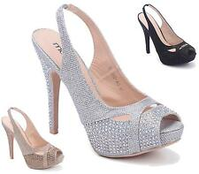 WOMENS HIGH HEEL ANKLE BUCKLE DIAMANTE PEEP TOE SANDAL PARTY CASUAL LADIES SHOES