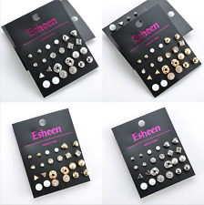 12 Pairs Women Girls Flower Crystal Pearl Rhinestone Earrings Ear Stud Jewelry