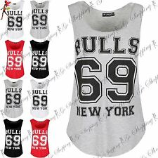 Womens Ladies Sleeveless Bulls 69 New York Curved Hem Gym Sports Edging Vest Top