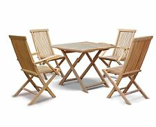 Lymington Teak Outdoor Patio Set - Folding Garden Table 1m and 4x Dining Chairs