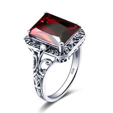 Ruby Rings 925 Solid Sterling Silver Ring Red Gemstone Vintage Women Jewelry