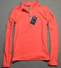 NWT WOMEN NIKE DRY DRI-FIT BRIGHT ORANGE 1/2 ZIP PULLOVER HENLEY JACKET SZ M