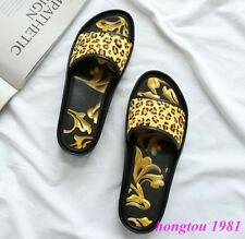 Fashion Womens Leopard Open Toe Slides Flat Casual Sandals Slippers Mules Shoes