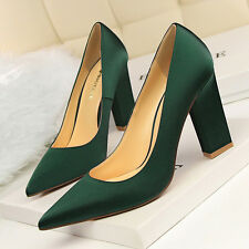 Hot Concise Chunky High Heels Shoes Party Wedding Women Pumps Heels Dress Shoes
