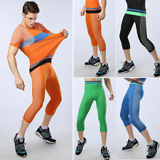 Mens Compression Under Base Layers Capri Pants Sports Gym Cropped Tight Trousers