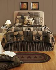 5-pc BINGHAM STAR Primitive Patchwork Quilt Set TWIN QUEEN CAL KING Incl Skirt