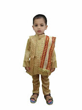 Indian Kid's Wear Silk Sherwani Dress ( Kurta, Pajama, jackit, dupatta Set )