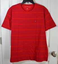 NEW MENS TOMMY HILFIGER RED STRIPE SHORT SLEEVE CREW NECK T SHIRT SZ L