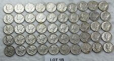 1942-D Mercury Dime Full Roll 50 Coin Silver Bullion XF- AU    LOT 1B