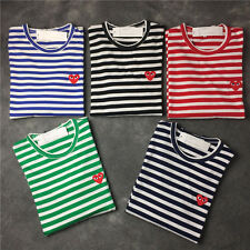 New WOMEN MEN'S STRIPED PLAY RED HEART COMME DES GARCONS CDG LONG SLEEVE T-SHIRT