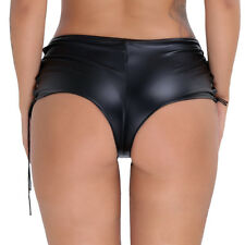 Women Sexy Leather Wet Look Party Clubwear Lace Up Hot shorts Dance Club Pants