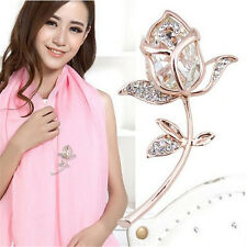 1Pcs Rhinestone Alloy Clothing Brooches Rose Flower Gift Crystal Brooch