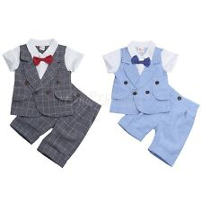 2PCS Baby Boys Clothes Outfits Wedding Party Formal Short Sleeve T-shirt Pants