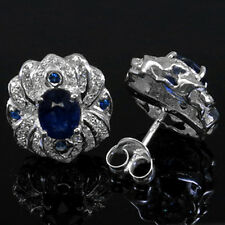 LUXURIOUS  ! TOP NATURAL BLUE & WHITE SAPPHIRE REAL 925 STERLING SILVER EARRINGS