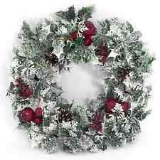 """18"""" CHRISTMAS WREATH DECORATION/DOOR ARTIFICIAL WITH VARIEGATED HOLLY AND SNOW"""