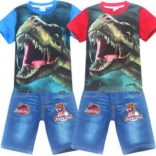 Lovely Kids Boys Print Short Sleeve T-shirt Tops Casual Summer Party Clothes Set
