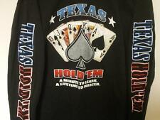 TEXAS HOLDEM T-SHIRT LONG SLEEVE BLACK POKER CASINO PLAYING CARDS TEE SHIRT NEW