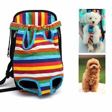 Pet Puppy Dog Cat Canvas Backpack Front Tote Carrier Safe Travel Rainbow Net Bag