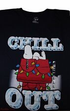 Mens Peanuts Snoopy Chill Out Graphic T-Shirt Tee S/Slv Navy Blue NWT M/L/XL/2X