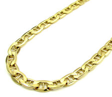 4MM SOLID 14K Yellow Gold Mariner Link Chain Necklace 18-24 Inches